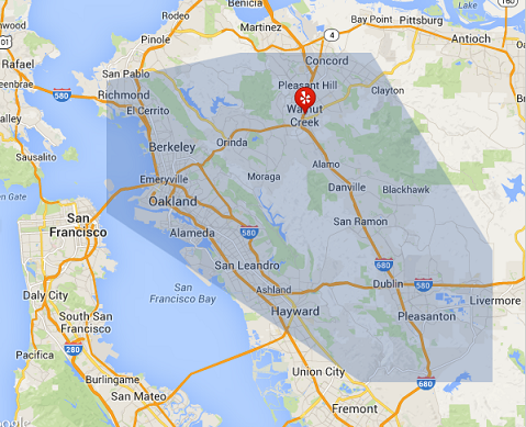 Map of the East Bay area where we operate.